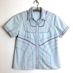 Anthropologie Elevenses Embroidered Cotton Shirt